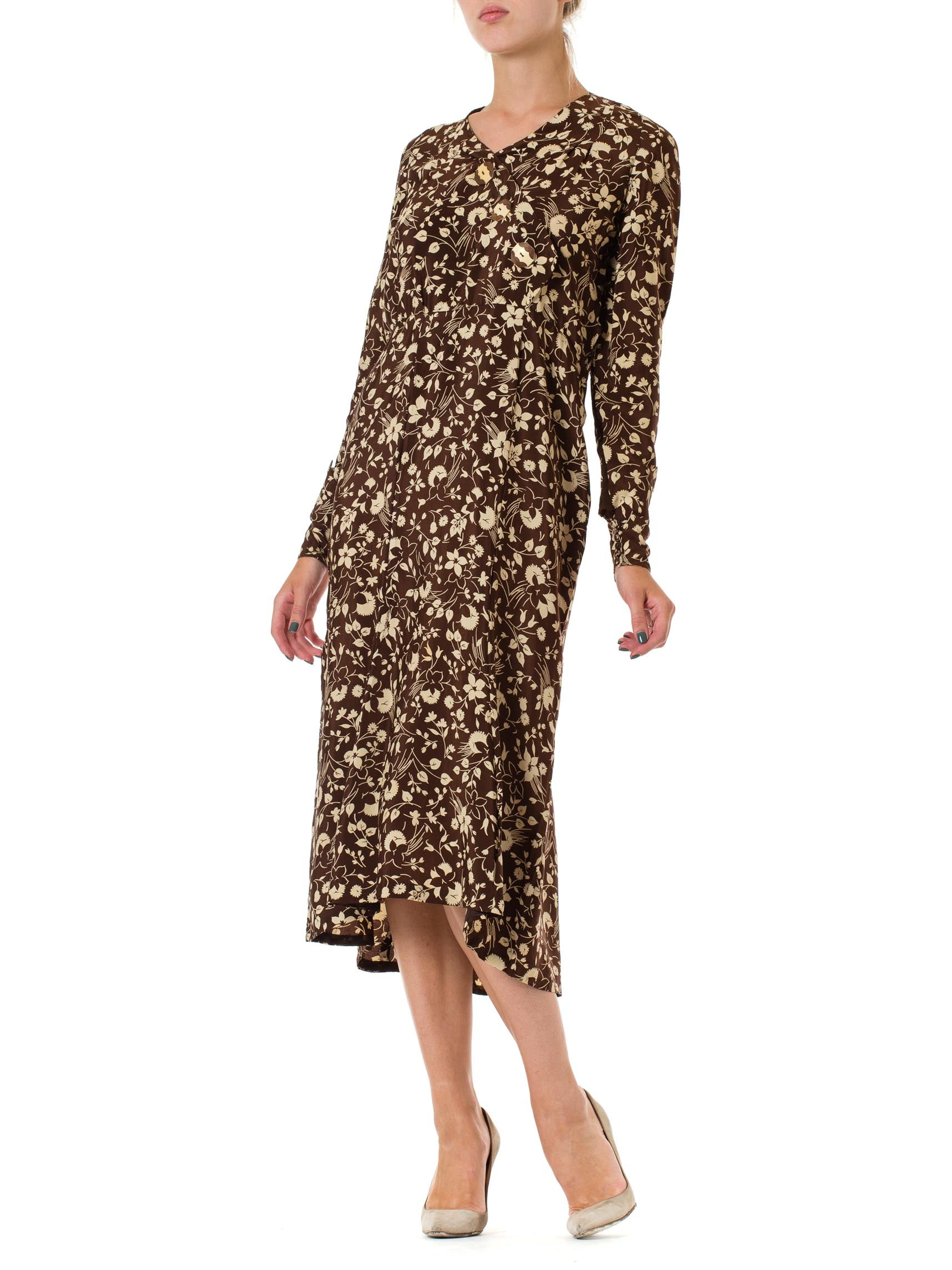 1920S Brown & Ivory Silk Crepe De Chine Two-Tone Floral Printed Long Sleeve Dress