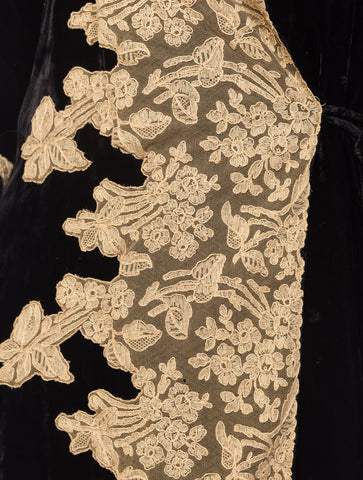 1920S Black Silk Velvet  Robe With Nude Lace Appliqué