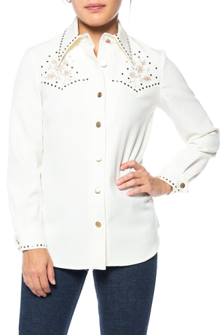 1970s Lillie Rubin Studded And Embroidred Western Shirt