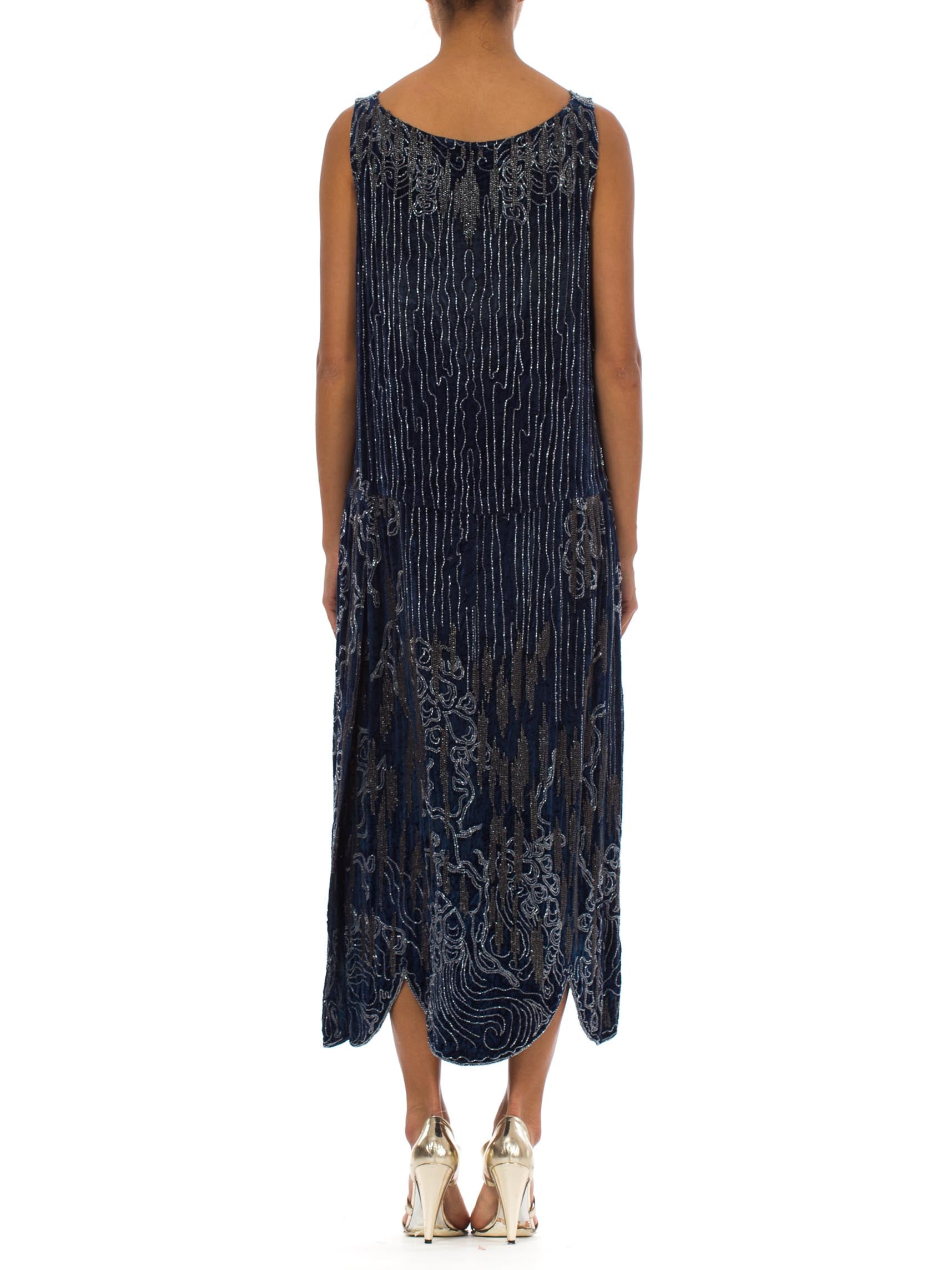1920S Sapphire Blue  Silk Velvet Abstract Deco Beaded Cocktail Dress With Side Slit