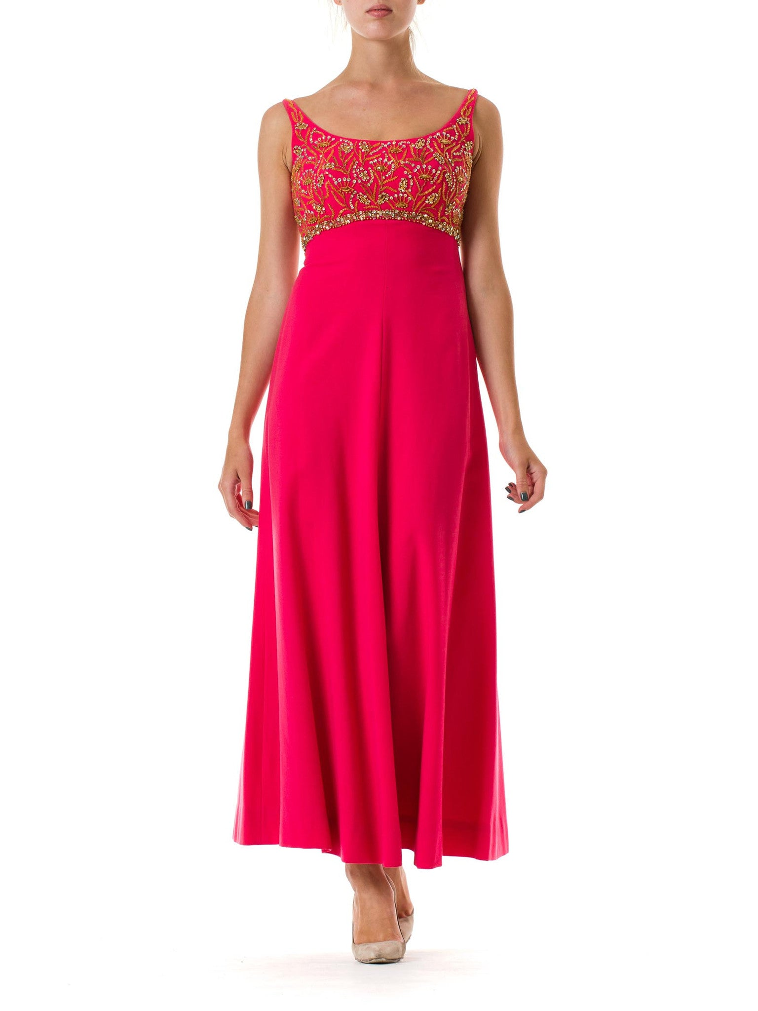 1950s Bright Pink Beaded Gown