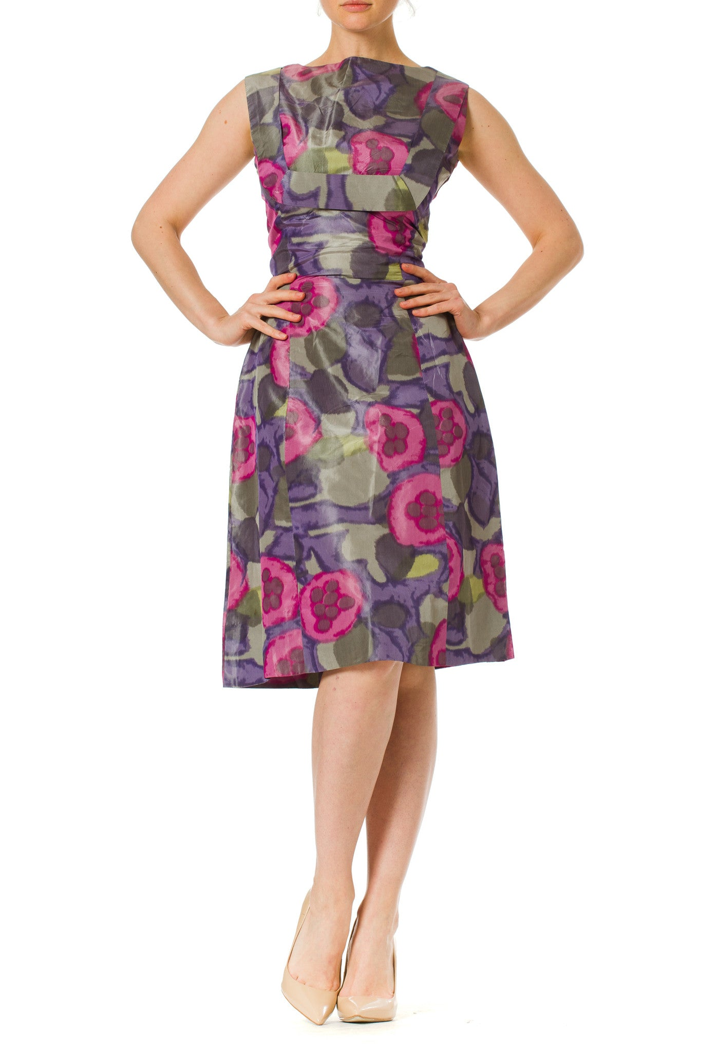 1950S Lilac & Silver Silk Taffeta Abstract Floral Ikat Cocktail Dress