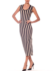 Gianni Versace Striped Sheer Tank Dress