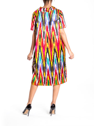 1970S Silk Ikat Print Collared Midi Dress