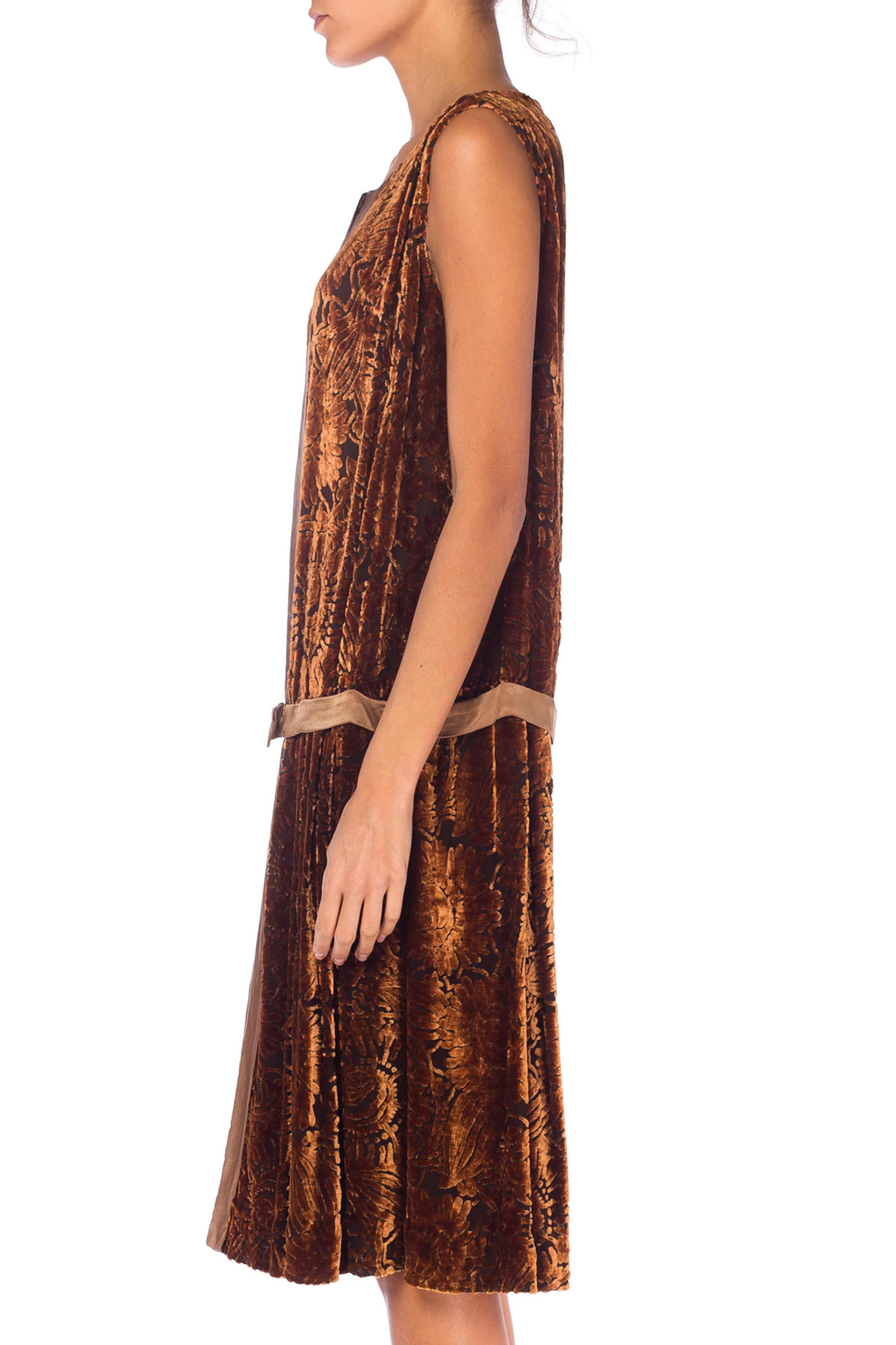 1920S Caramel Brown Silk Floral Burnout Velvet Cocktail Dress
