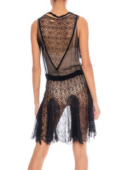 1920's Silk Chiffon and Chantilly Lace Flapper Dress