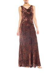 Carmen Marc Valvo Bias Brown Burnout Gown