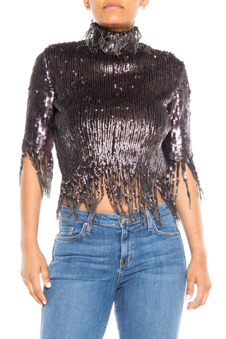 Jean Paul Gaultier Deconstructed Sequin Knit Top