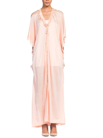 1920s Fine Silk Jersey Robe Kaftan With Fringe