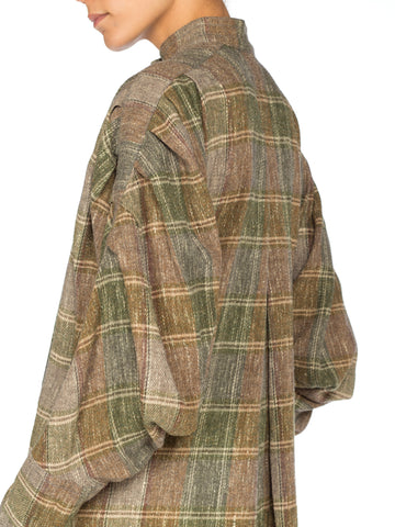 1980S ISSEY MIYAKE Wool Flannel Plaid Pleated Sleeve Tunic Dress