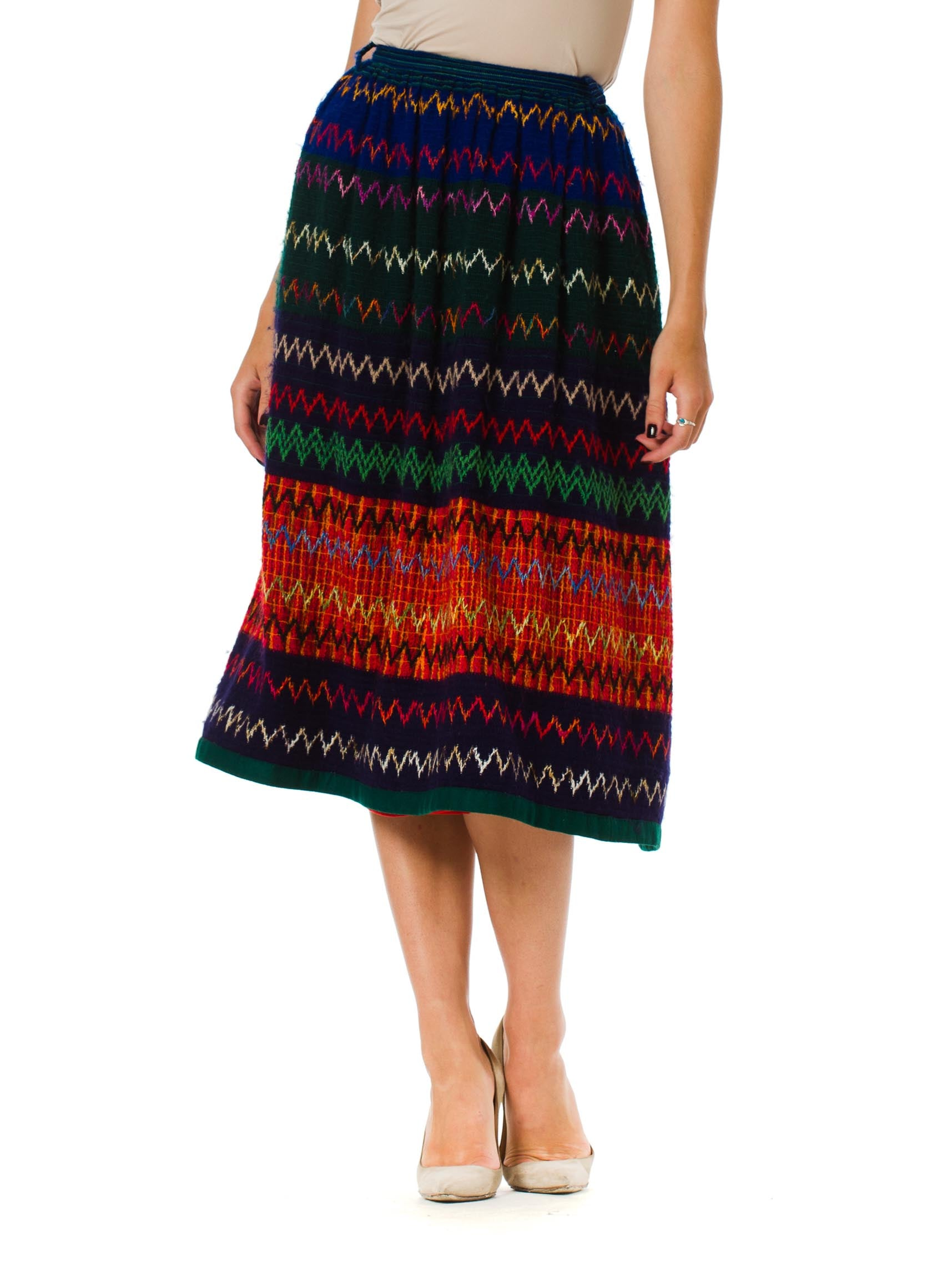 1970s Lanvin Boho Wool Skirt