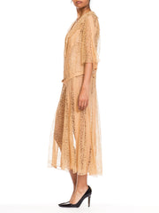 1920s Art Deco Sheer Lace Dress, Large