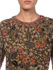 1980s Embroidered Cuoture Dress With Real Citrine Crystals