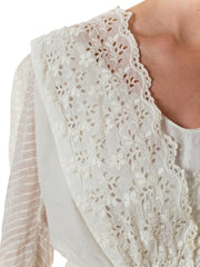 Victorian Sheer White Embroidered V-neck Gown with Floral Eyelet Detail and Three Quarter Sleeves Rare size