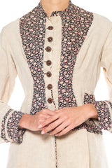 1870s Linen and Cotton Floral Jacket