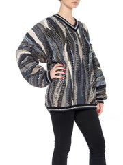 Gray, black, and Blue Multiknit V-Neck Sweater
