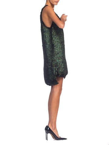 1990S Ann Demeulemeester Iridescent Feather Racerback Dress & Skirt Ensemble