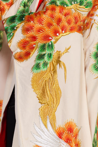 1960S Mid Century Japanese Wedding Kimono With Embroidery Cranes Crystals