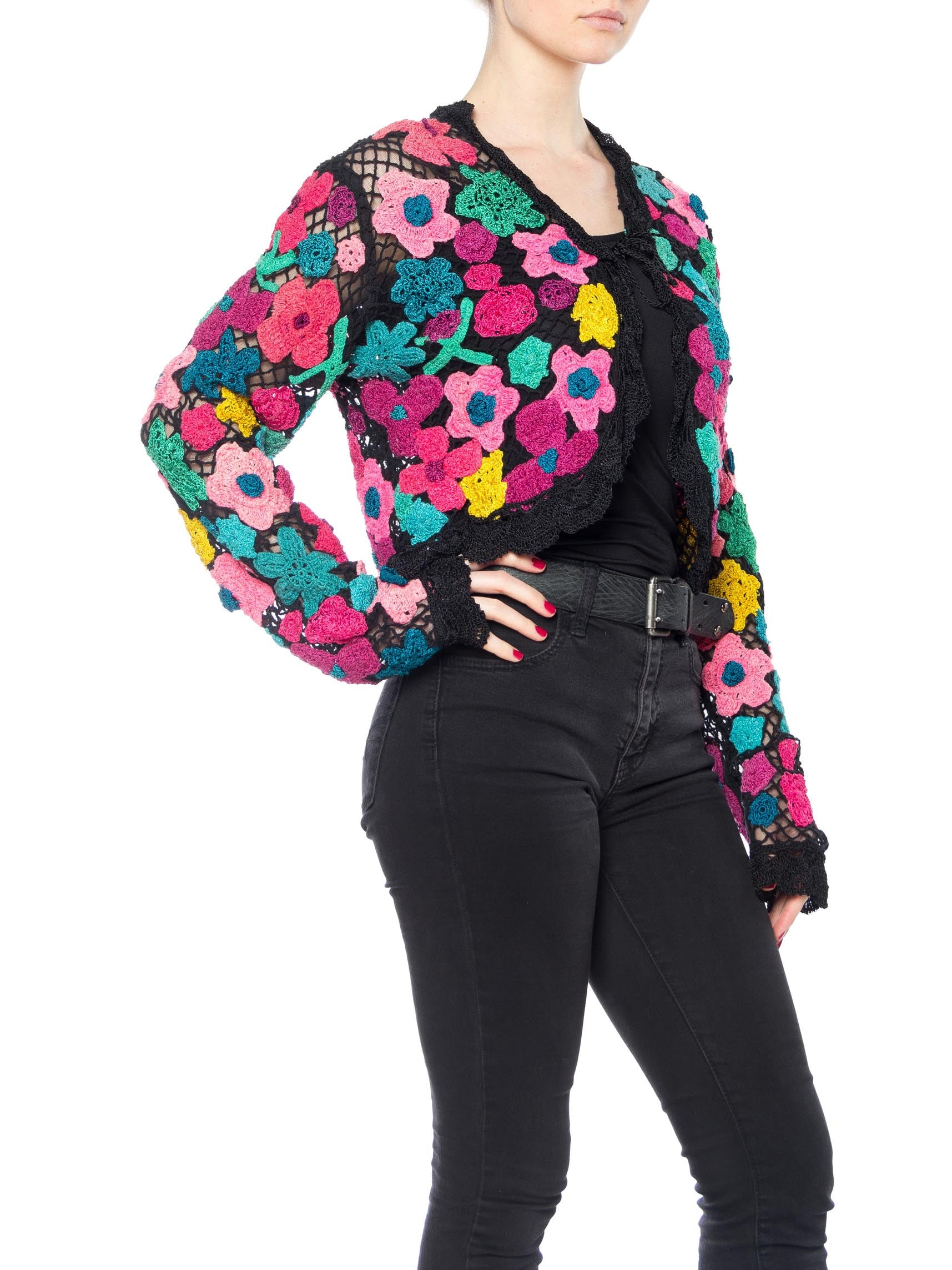 1960S Multicolor Floral Cotton Crochet & Net Cardigan Sweater