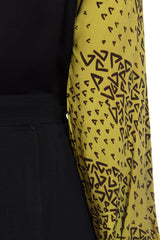 1930s Black and Chartreuse Belted Secretary Tie Geometric Patterned Dress