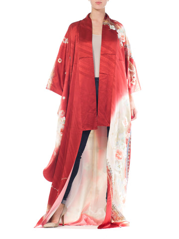 Japanese Kimono With Floral Gold Embroidery