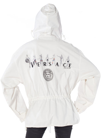 "1990S Gianni Versace Jeans Couture White Cotton Pullover Jacket With Medusa Logo And ""Buff Guys"" Embroidery"