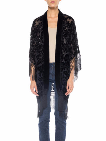 MORPHEW COLLECTION Black Floral Silk Burnout Velvet Sheer Fringed  Kimono