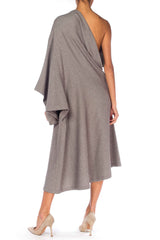 Gray Wool Assymetrical One Sleeve Dress