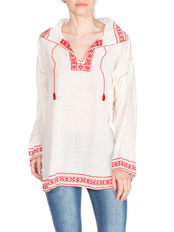 Embroidered Long Sleeve Boho Top With Collar