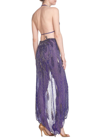 1970S Morphew Collection Cher-Inspired Beaded Purple Two Piece Ensemble Dress