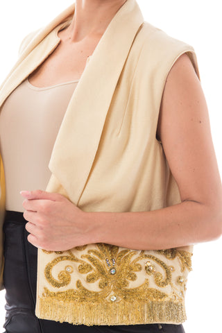 1960S MR BLACKWELL Cream Wool Vest With Baroque Gold Beaded Border