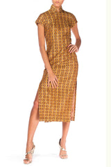 1960s Lurex Jacquard Asian Dress with Squares