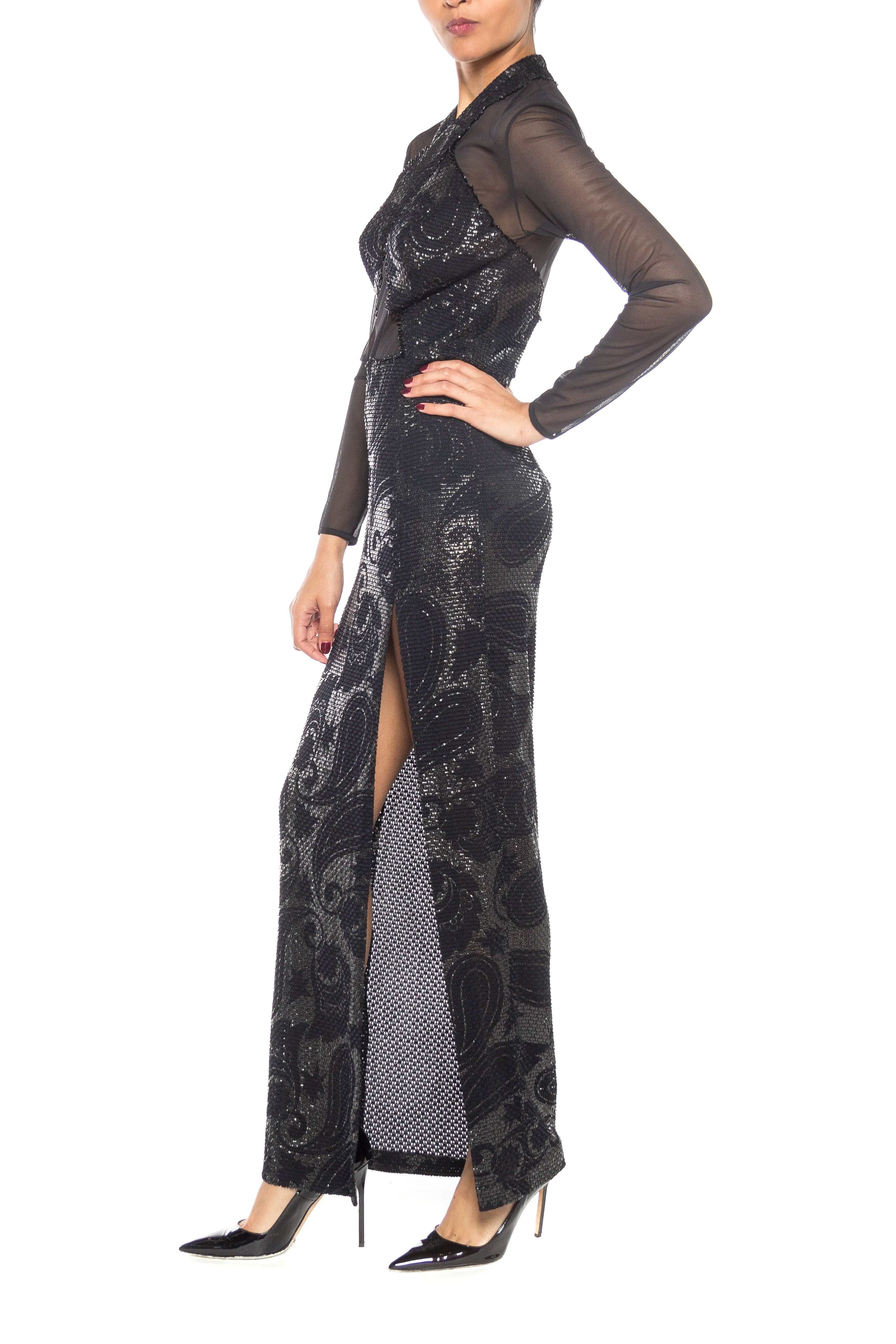 8ebb2672cb0 1980s Sheer Cut Out Bodycon Gown with Textured Metallic Print – MORPHEW