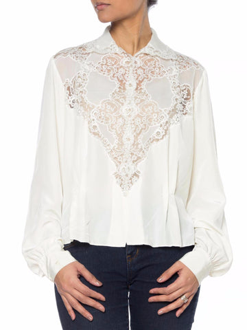 White 1940s Top with Lace on Front