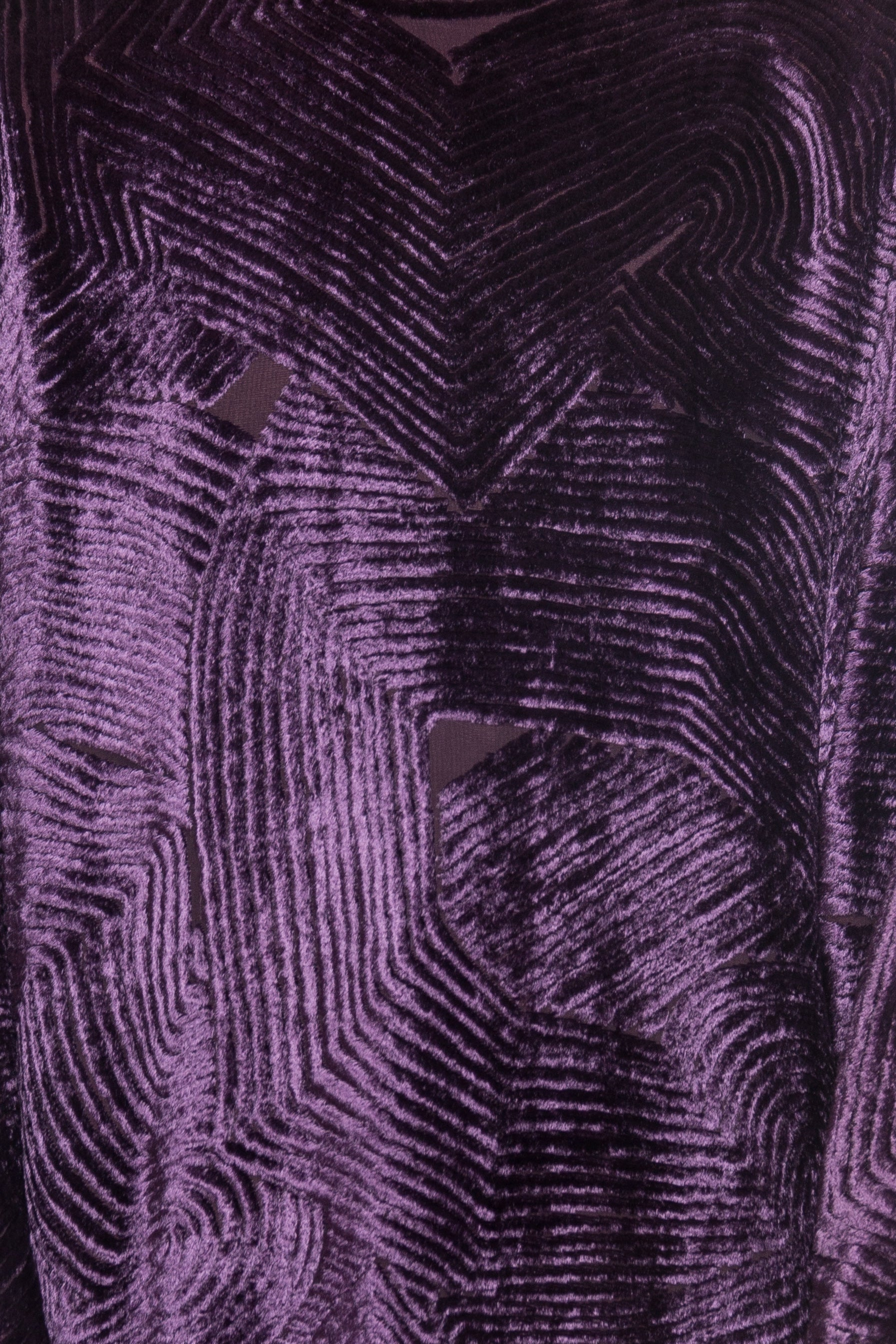 1980S Purple Silk Burnout Velvet  Loose Cut & Long Sleeved Cocktail Dress