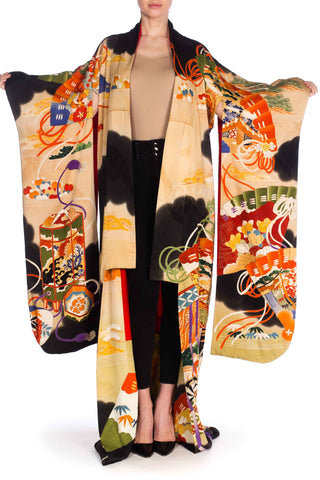 1940S Hand Painted Silk With Fan Print And Metallic Embroidery Kimono