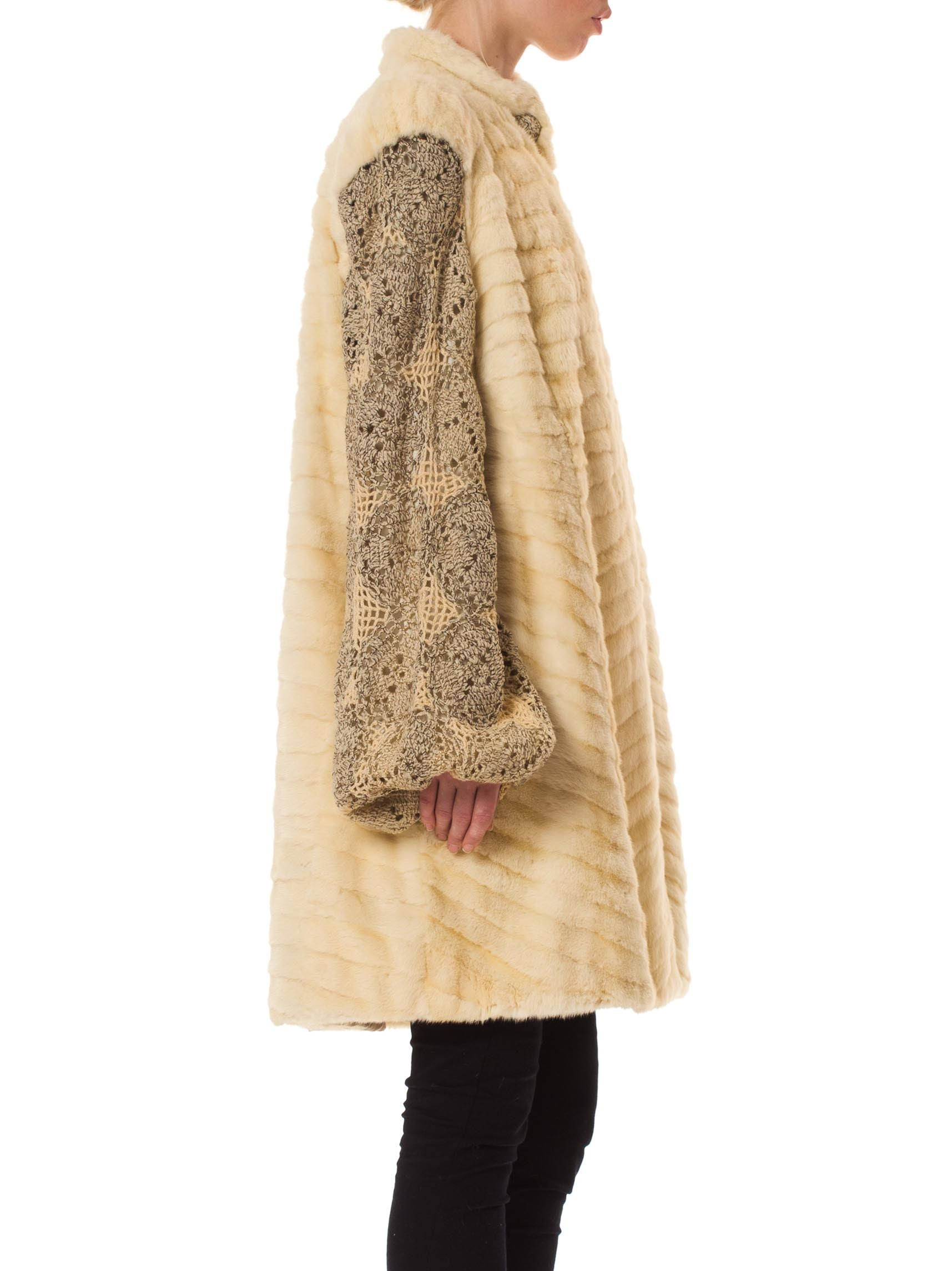 1930S Cream Metallic Wool Blend Crochet Lace Sleeved Ermine Fur Coat