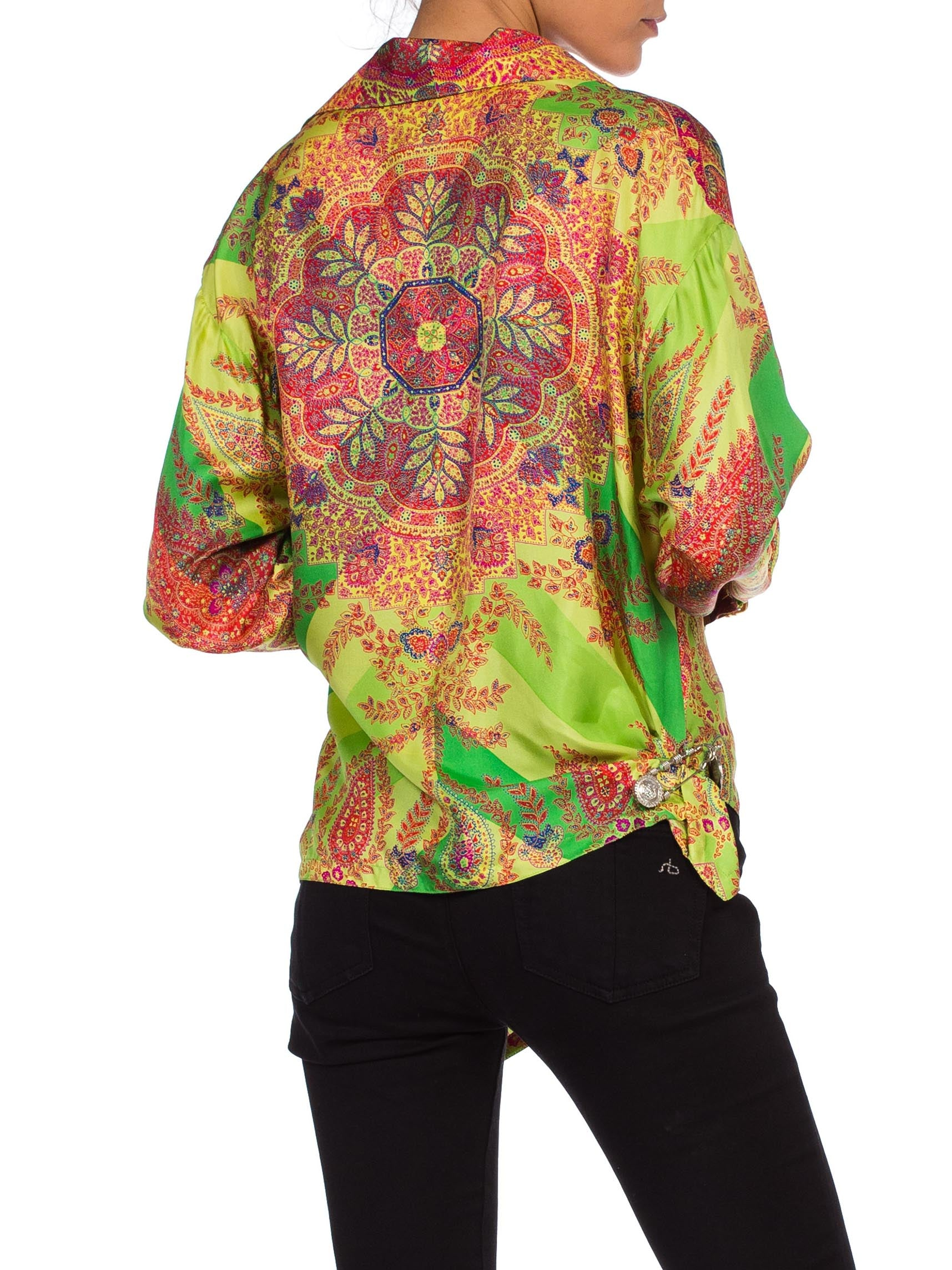 1990S GIANNI VERSACE Paisley Silk Twill Blouse From The Punk Medusa Safety Pin Collection