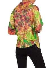 1990s Gianni Versace Punk Collection Paisley Silk Blouse
