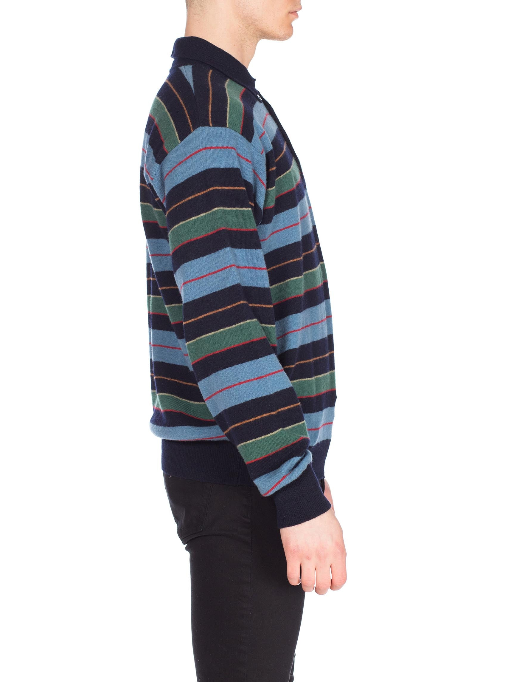 1980S Gucci Blue & Green Striped Wool Knit Polo Neck Sweater With Logo Buttons