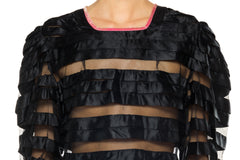 1930s Black Net and Ribbon Top with Pink Velvet Trim