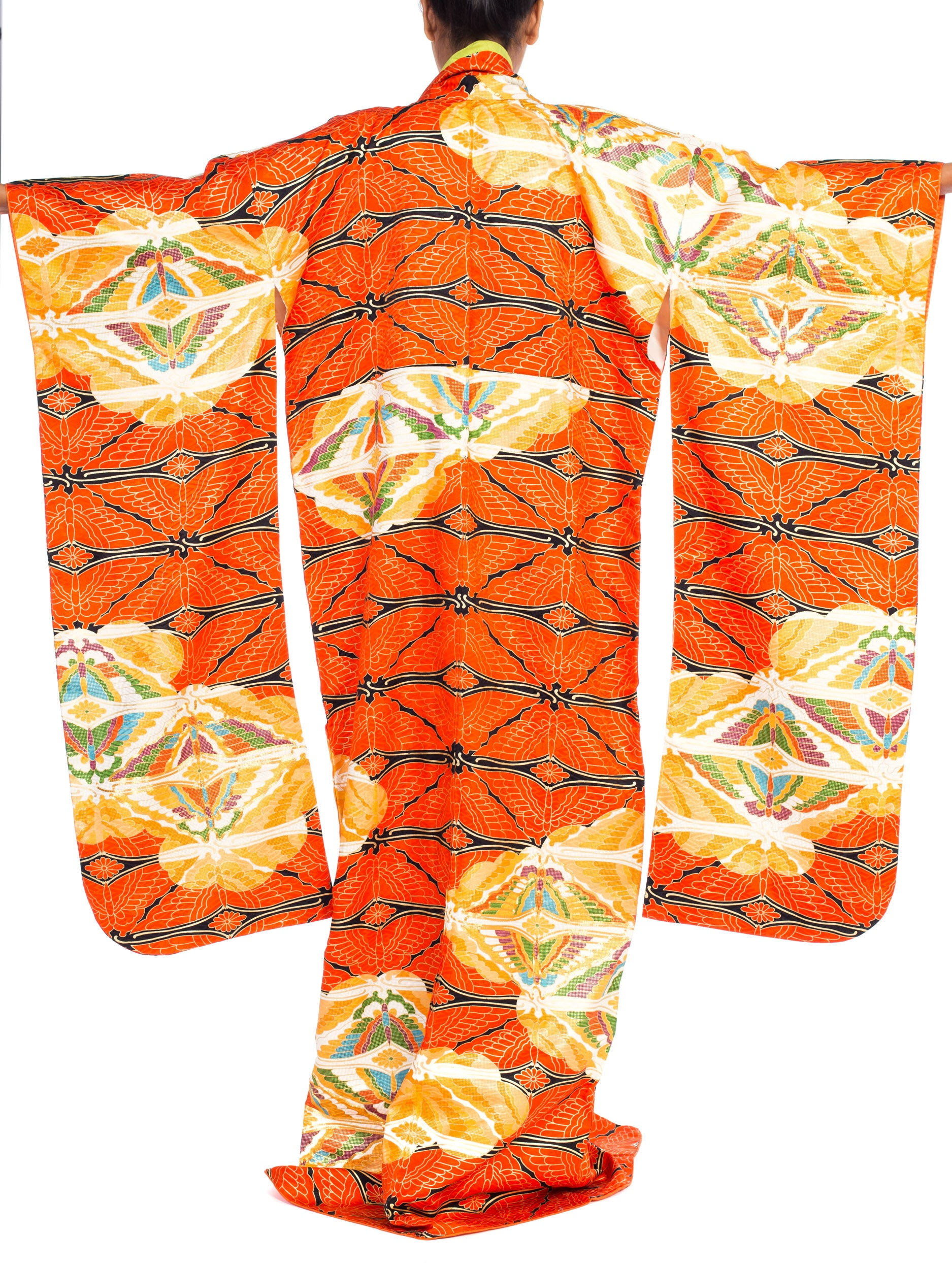 1970S Dramatic Japanese Butterflywith Gold Hand Embroidery Kimono
