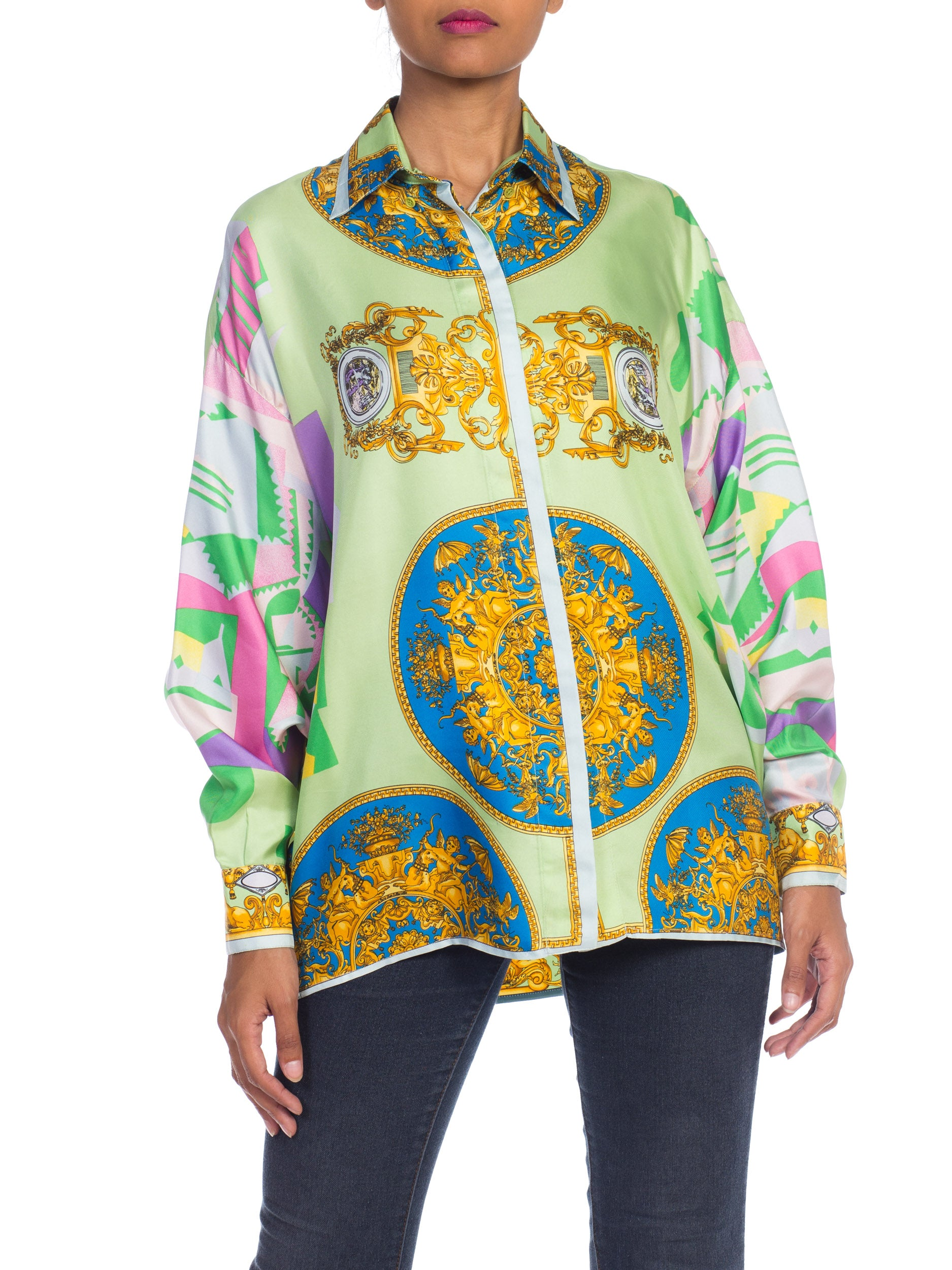 1990S INSTANTE By GIANNI VERSACE Pastel Silk Art Deco & Baroque Print Shirt Sz 40