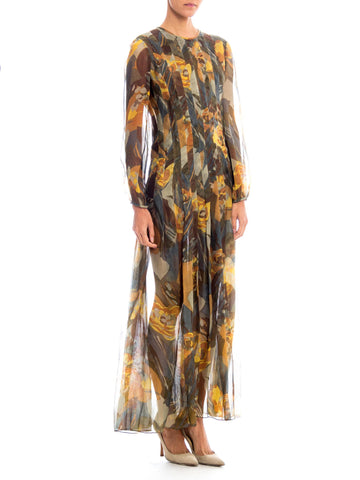 1970s Pauline Trigere Abstract Floral Print Pleated Maxi Dress