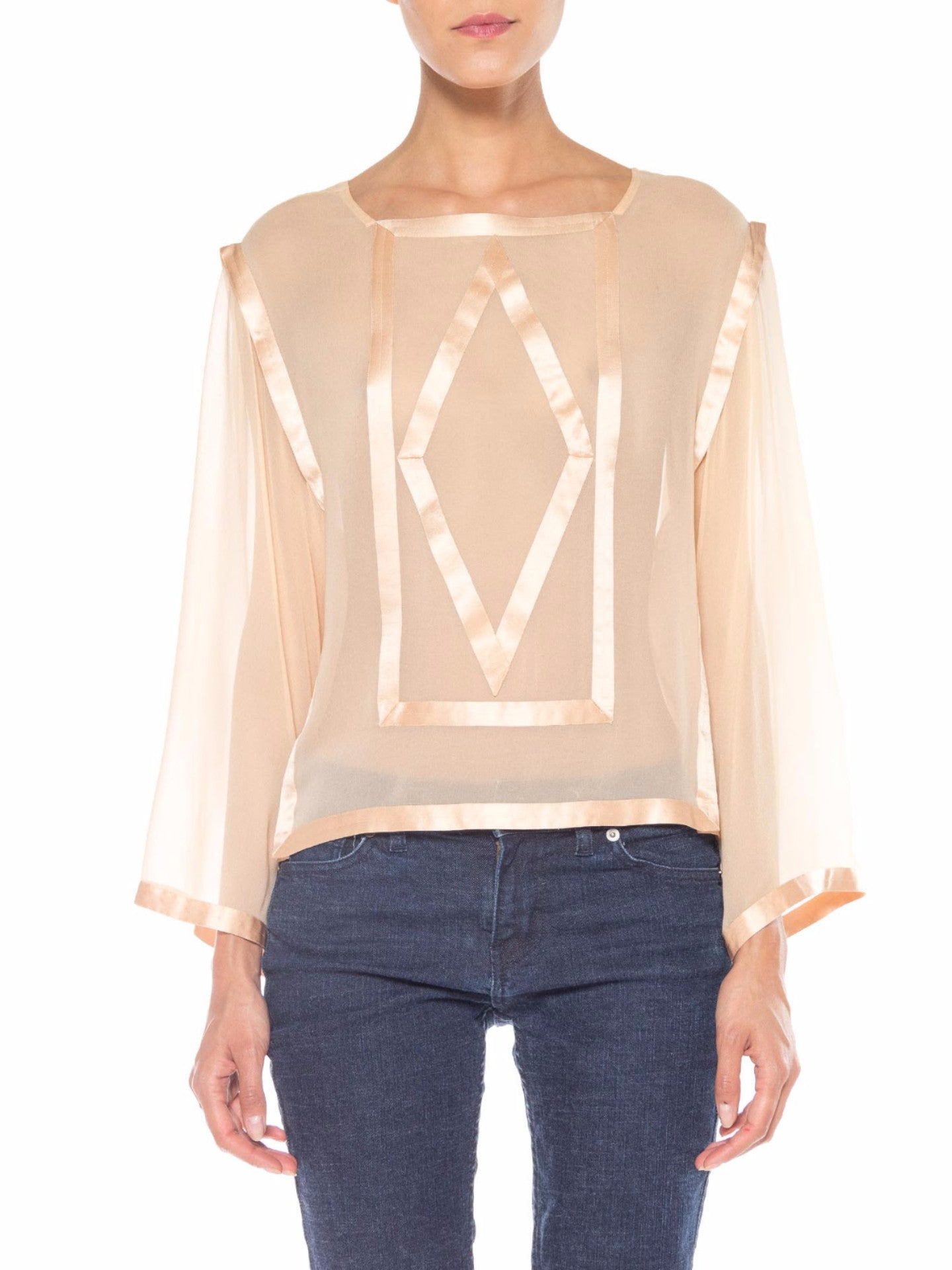 1970s Chiffon and Satin Geometric Top