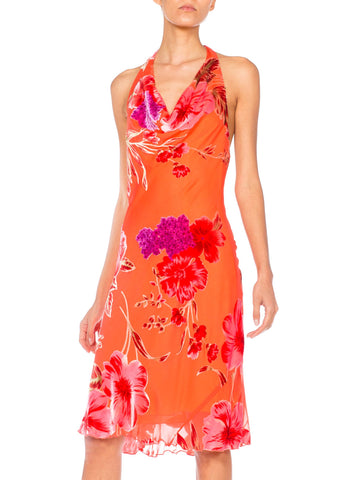 1990s John Galliano Style Bias Floral Tropical Burnout Velvet Halter with Beaded Fringe ties