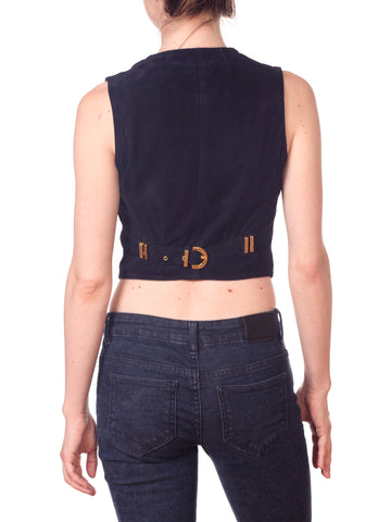 1990S GIANNI VERSACE Navy & White Rayon Knit Zipper Vest Top Trimmed Backed In Suede