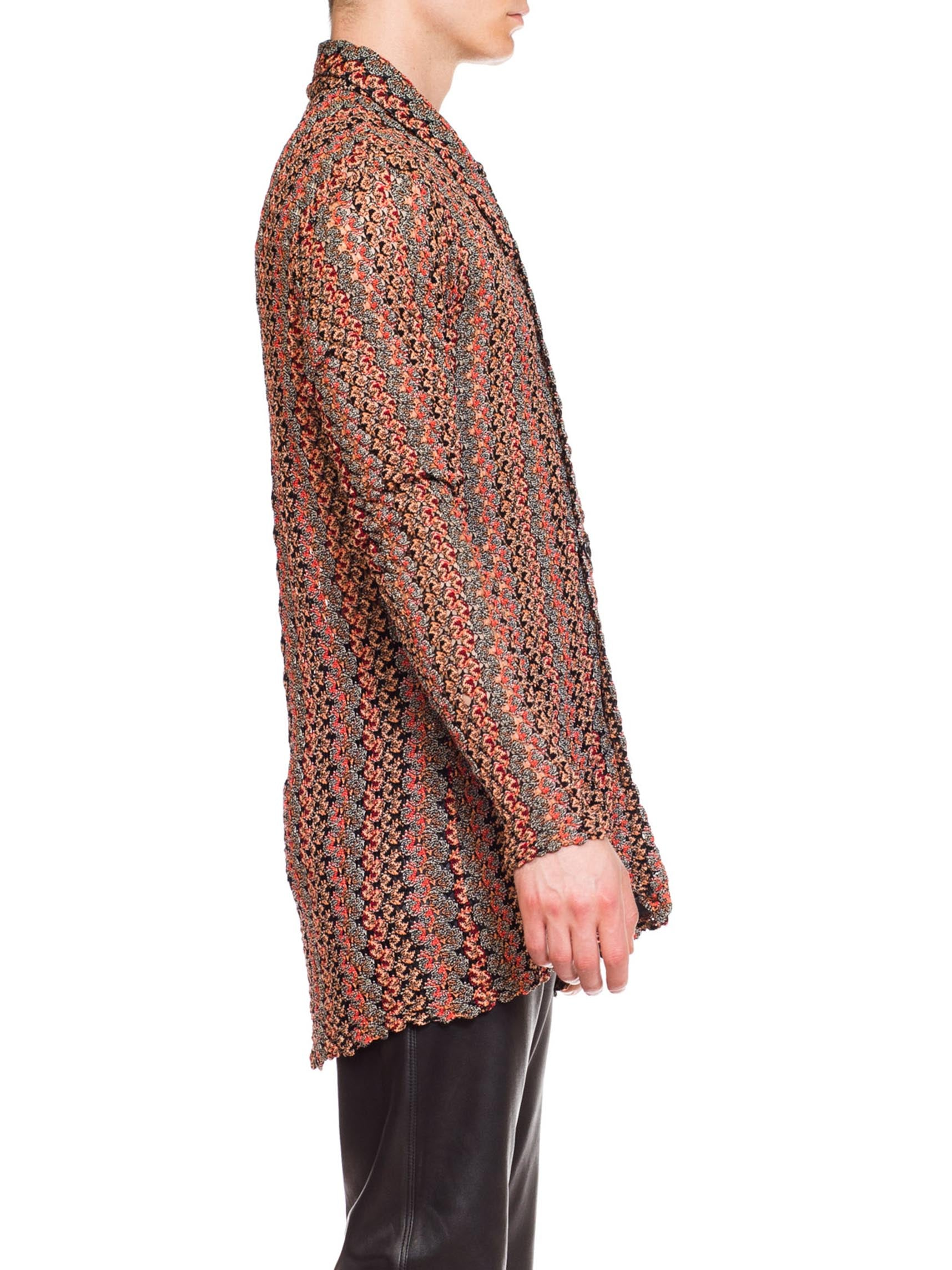 1970S MISSONI Style Red & Black Acetate Knit Men's Sheer Lace Disco Shirt