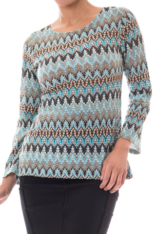 1970s Missoni Blue Knit Flared Sleeve Sweater