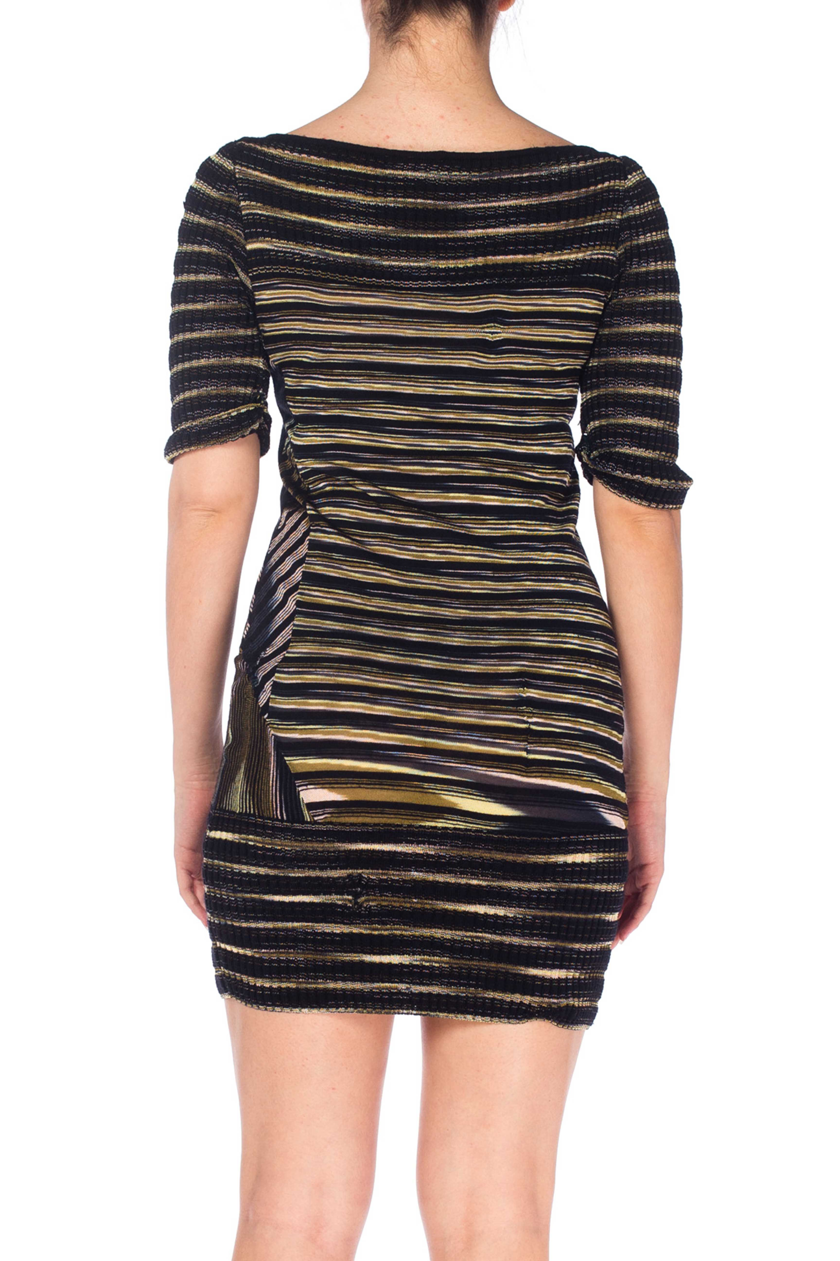2000S MISSONI Rayon Boatneck Pieced Sweater Dress